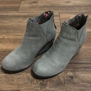 Gray suede ankle booties